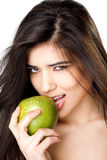 κορίτσι μήλων προκλητικό στοκ εικόνα