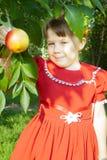 κορίτσι μήλων που κρατά το υπαίθριο πορτρέτο στοκ φωτογραφία με δικαίωμα ελεύθερης χρήσης