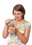 Κορίτσι με έναν κάκτο Στοκ φωτογραφία με δικαίωμα ελεύθερης χρήσης