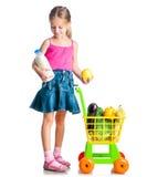Κορίτσι με ένα καλάθι των προϊόντων από Στοκ Φωτογραφία