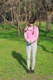 Κορίτσι με ένα πηδώντας σχοινί Στοκ Φωτογραφίες