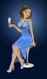 Κορίτσι με ένα ποτήρι του κρασιού διανυσματική απεικόνιση