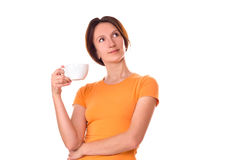 Κορίτσι με ένα φλυτζάνι του τσαγιού πρωινού Στοκ εικόνα με δικαίωμα ελεύθερης χρήσης