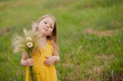 Κορίτσι με μια ανθοδέσμη του σίτου και των λουλουδιών Στοκ Φωτογραφία