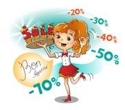 Κορίτσι με μια γλυκιά πώληση Διανυσματική απεικόνιση