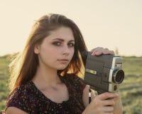Κορίτσι με μια κάμερα Στοκ Εικόνα