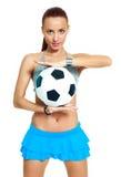 Κορίτσι με μια σφαίρα ποδοσφαίρου Στοκ Εικόνες