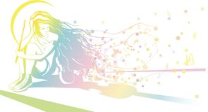 Κορίτσι με να ονειρευτεί βιολιών διανυσματική απεικόνιση