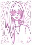 Κορίτσι με τα γυαλιά υπό μορφή καρδιάς Στοκ Εικόνες