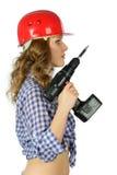 Κορίτσι με τα εργαλεία για την επισκευή. στοκ εικόνες