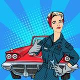 Κορίτσι με τα εργαλεία Εργαζόμενη γυναίκα Gesturing μεγάλο αυτοκινητικός τρύγος σεπιών αυτοκινήτων αναδρομικός διανυσματική απεικόνιση