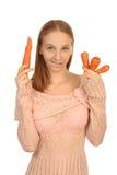 Κορίτσι με τα καρότα Στοκ εικόνες με δικαίωμα ελεύθερης χρήσης