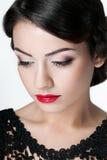 Κορίτσι με τα κόκκινα χείλια Στοκ Φωτογραφίες