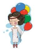Κορίτσι με τα μπαλόνια Στοκ Φωτογραφία