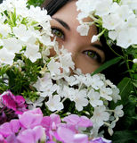 Κορίτσι με τα πράσινα μάτια στα λουλούδια Στοκ φωτογραφίες με δικαίωμα ελεύθερης χρήσης