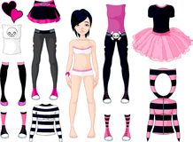 Κορίτσι με τα φορέματα. Σκαλί Emo διανυσματική απεικόνιση