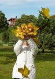 Κορίτσι με τα φύλλα φθινοπώρου Στοκ φωτογραφία με δικαίωμα ελεύθερης χρήσης