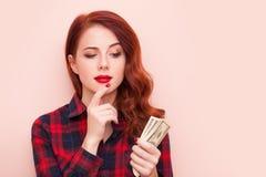 Κορίτσι με τα χρήματα Στοκ εικόνα με δικαίωμα ελεύθερης χρήσης