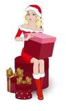 Κορίτσι με τα δώρα ξανθά στοκ εικόνες