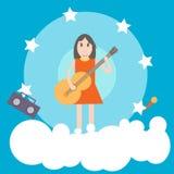Κορίτσι με την επίπεδη απεικόνιση κιθάρων Στοκ Εικόνα