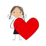κορίτσι με την καρδιά βαλεντίνων Στοκ εικόνες με δικαίωμα ελεύθερης χρήσης