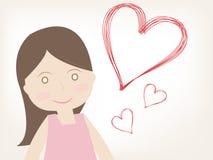 Κορίτσι με την καρδιά της αγάπης απεικόνιση αποθεμάτων