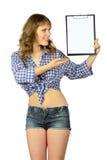 Κορίτσι με την κενή περιοχή αποκομμάτων. στοκ φωτογραφία με δικαίωμα ελεύθερης χρήσης