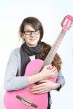 Κορίτσι με την κιθάρα στοκ φωτογραφία