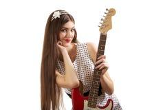 Κορίτσι με την κιθάρα Στοκ Εικόνες