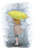 Κορίτσι με την ομπρέλα ζωηρόχρωμη απεικόνιση Συρμένη απεικόνιση Νοέμβριος Φθινόπωρο Στοκ Εικόνες
