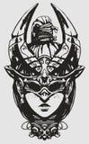 Κορίτσι με την πλεξίδα, σε μια ασυνήθιστη μάσκα, που μοιάζει με έναν κάνθαρο διανυσματική απεικόνιση