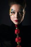 Κορίτσι με την τρίχα και makeup Στοκ Εικόνες