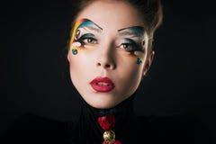 Κορίτσι με την τρίχα και makeup Στοκ εικόνα με δικαίωμα ελεύθερης χρήσης