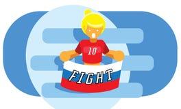 Κορίτσι με της Ρωσίας διανυσματικό illustrati ομάδων ποδοσφαίρου εθνικών σημαιών το κόκκινο Στοκ φωτογραφία με δικαίωμα ελεύθερης χρήσης
