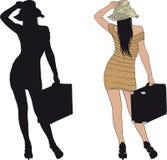 Κορίτσι με τη βαλίτσα Στοκ Εικόνα