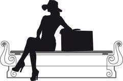 Κορίτσι με τη βαλίτσα Στοκ Φωτογραφία