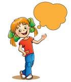 Κορίτσι με τη λεκτική φυσαλίδα στο λευκό Απεικόνιση αποθεμάτων