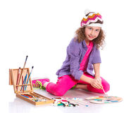 Κορίτσι με τη ζωγραφική watercolor Στοκ Εικόνα