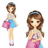 Κορίτσι με τη ρόδινη τσάντα αγορών διανυσματική απεικόνιση