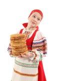 Κορίτσι με τη στοίβα των τηγανιτών Στοκ φωτογραφίες με δικαίωμα ελεύθερης χρήσης