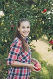 Κορίτσι με τη Apple στον οπωρώνα της Apple Στοκ φωτογραφία με δικαίωμα ελεύθερης χρήσης