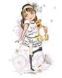 Κορίτσι με τη teddy άρκτο απεικόνιση αποθεμάτων