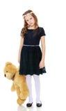 Κορίτσι με τη teddy άρκτο Στοκ Φωτογραφίες