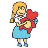 Κορίτσι με τη teddy έννοια αρκούδων διανυσματική απεικόνιση