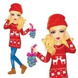 Κορίτσι με τις διακοσμήσεις Χριστουγέννων απεικόνιση αποθεμάτων