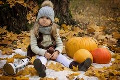 Κορίτσι με τις κολοκύθες στο υπόβαθρο φθινοπώρου Στοκ φωτογραφίες με δικαίωμα ελεύθερης χρήσης