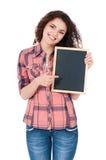 Κορίτσι με τον πίνακα κιμωλίας Στοκ φωτογραφία με δικαίωμα ελεύθερης χρήσης