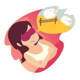Κορίτσι με τον υπολογισμό των προβάτων Πίεση, πρόβλημα του ύπνου, έννοια αϋπνίας Γυναίκα κινούμενων σχεδίων σε κακό Πρόβατα που π Στοκ Εικόνα