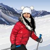 Κορίτσι με τους πόλους σκι στα χιονώδη βουνά Στοκ Εικόνες