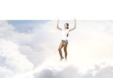 Κορίτσι με το έμβλημα Στοκ φωτογραφία με δικαίωμα ελεύθερης χρήσης